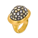 24k Gold & Diamond 'Mosaic' Dome Ring