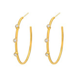 "Medium 24k Gold & Diamond ""Jane"" Hoop Earrings"