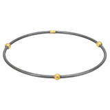 """Jane"" Oxidized Gilver Bangle with 24k Gold Beads"