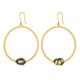 24k Gold & Gilver Nugget Drop Hoop Earrings