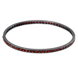 """Lilah"" Oxidized Gilver & Garnet Bangle Bracelet"
