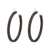 "Medium ""Lilah"" Orange Sapphire Hoop Earrings"