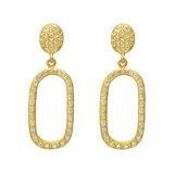"""Maya"" 24k Gold & Diamond Oval Drop Earrings"