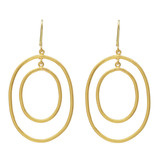 "Large ""Rachel"" 24k Gold Oval Double Drop Earrings"